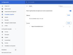preferencias en Chrome, para permitir sonidos en webRTC