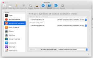 Preferencias en Safari, para permitir sonidos en webRTC